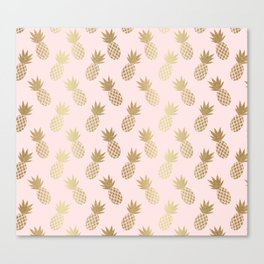 Pink & Gold Pineapples Canvas Print