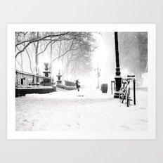 Snow - New York City - Bryant Park Art Print