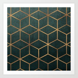 Dark Teal and Gold - Geometric Textured Gradient Cube Design Art Print