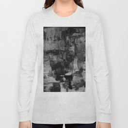 Crackled Gray - Black, white and gray, grey textured abstract Long Sleeve T-shirt