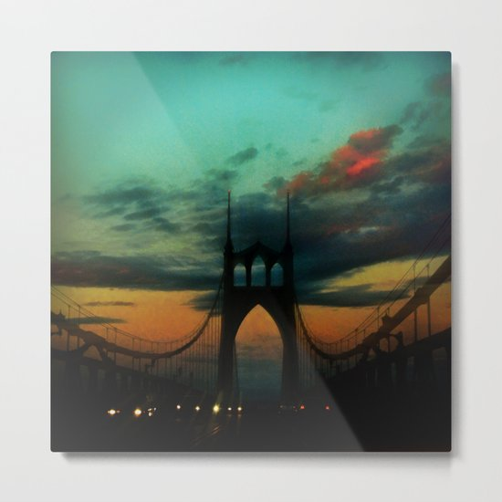 Bridge to Portland - St. Johns - On a Warm October Evening Metal Print