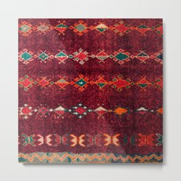 -A8- Colored Traditional Moroccan Carpet Artwork. Metal Print