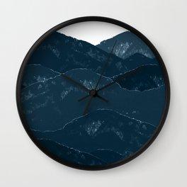 Navy Blue Mountains #1 #decor #art #society6 Wall Clock