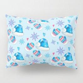 Blue Christmas Santa and Snowflakes Pattern Pillow Sham