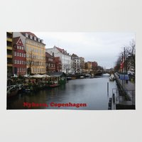 copenhagen Area & Throw Rugs featuring Nyhavn, Copenhagen  by Created by Eleni