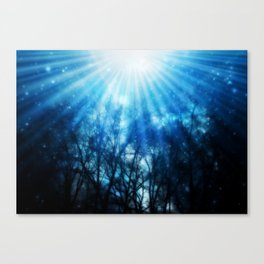 There Is Hope In the Light : Black Trees Blue Space Canvas Print