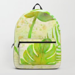 Tropical Leaf Watercolor Painting, Green Palm Tree Leaves Backpack