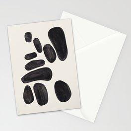 Mid Century Modern Minimalist Abstract Art Brush Strokes Black & White Ink Art Pebbles Stationery Cards
