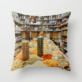 Traditional spices in souk market in Tel Aviv, Israel   Colorful travel photography   Fine art print Throw Pillow