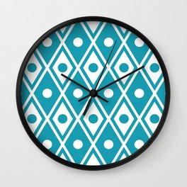 Harlequin Pattern Cerulean Blue Wall Clock