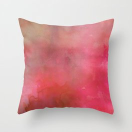 Abstract pink coral hand painted watercolor paint Throw Pillow