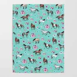 Hand drawn horses, Flower horses, Floral Pattern, Aqua Blue Poster