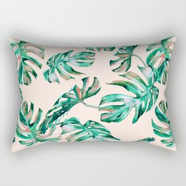 Tropical Palm Leaves Coral Greenery Rectangular Pillow