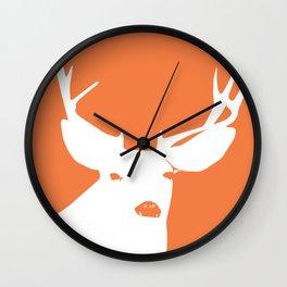Orange Deer with Antlers Silhouette Wall Clock