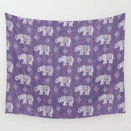 Elephants on Linen - Amethyst Wall Tapestry