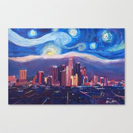 Starry Night in Los Angeles - Van Gogh Inspirations with Skyline and Mountains Canvas Print