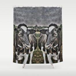 Melancholic Black White Dutch Cow Shower Curtain