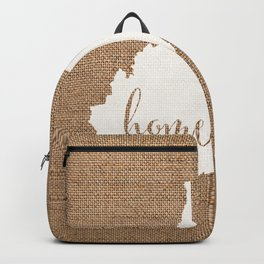 West Virginia is Home - White on Burlap Backpack