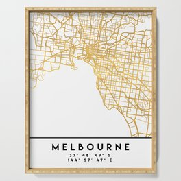 MELBOURNE AUSTRALIA CITY STREET MAP ART Serving Tray