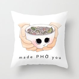Made Phở You Adorable Pho Bowl Character Throw Pillow