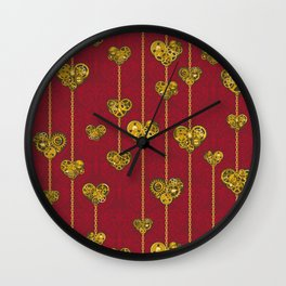 SteamPunk Love / RED Wall Clock