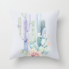Mixed Cacti 2 Blue #society6 #buyart Throw Pillow