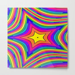 Rainbow Stripes Star Metal Print