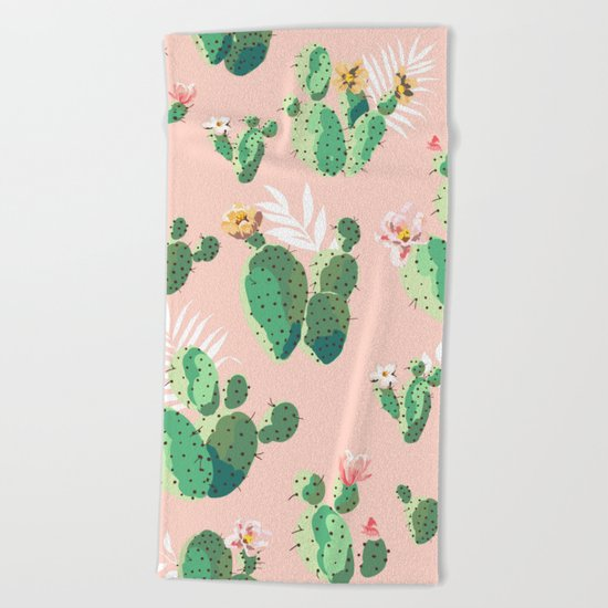 Vintage Cactus Pattern Beach Towel