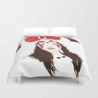 princess mononoke Duvet Covers featuring Princess Mononoke (High Contrast) by Andrea Knapp Illustrations