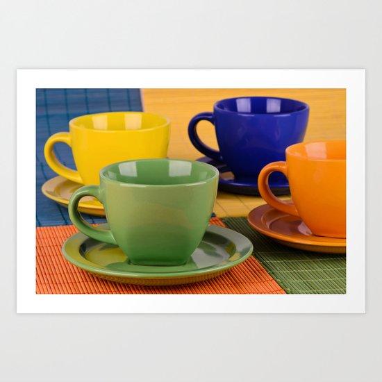 Colorful tea cups Art Print