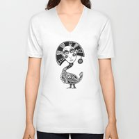 birdy V-neck T-shirts featuring Birdy by Rebexi