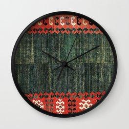 Cappadocian Central  Anatolian Antique Turkish Kilim Print Wall Clock