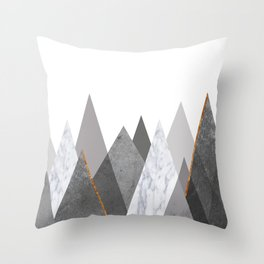 Marble Gray Copper Black and White Mountains Throw Pillow