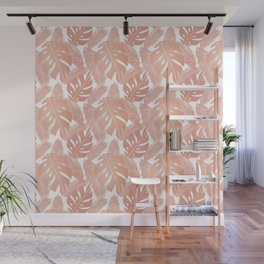 Rose Gold Tropical Leaf Pattern Wall Mural