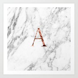 Monogram rose gold marble A Art Print