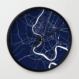 Bangkok Thailand Minimal Street Map - Navy Blue and White II Wall Clock