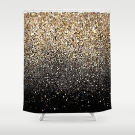 Black Gold Sparkle Shower Curtain