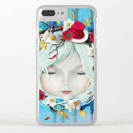 head of girl and flowers Clear iPhone Case