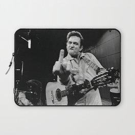 Johnny Cash Flipping the Bird Premium Paper Poster Laptop Sleeve