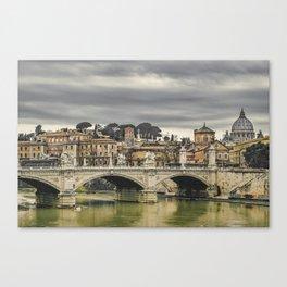 Tiber River Rome Cityscape Photo Canvas Print