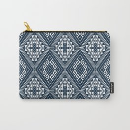 Ethnic Mosaic Pattern Navy and White Carry-All Pouch