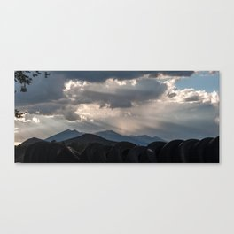 Tires and Mountains Canvas Print