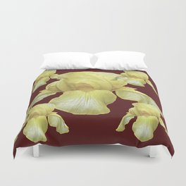 PALE YELLOW IRIS ON BURGUNDY COLOR Duvet Cover