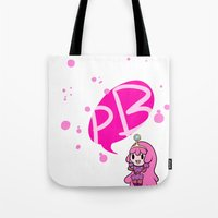 princess bubblegum Tote Bags featuring Princess Bubblegum by dartty