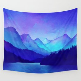 Cerulean Blue Mountains Wall Tapestry