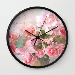 Paris Impressionistic Roses Floral Decor Wall Clock