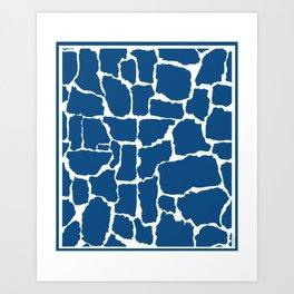 Classic Blue Giraffe Art Print