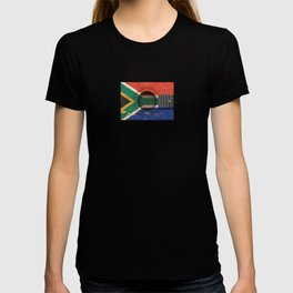 Old Vintage Acoustic Guitar with South African Flag T-shirt