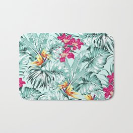 Bird of Paradise Greenery Aloha Hawaiian Prints Tropical Leaves Floral Pattern Bath Mat