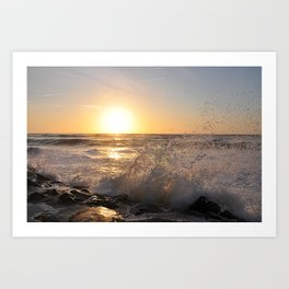 Crashing Waves at Sunrise Art Print